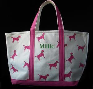 Monogrammed Pink Dog Classic Tote