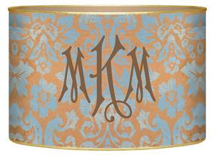 Copper & Blue Damask Letter Box