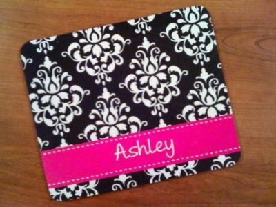 Personalized Black Damask & Hot Pink Mouse Pad