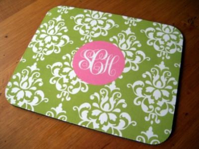 Monogrammed Green Damask Mouse Pad