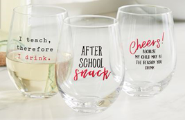 Teacher Stemless Wine Glasses