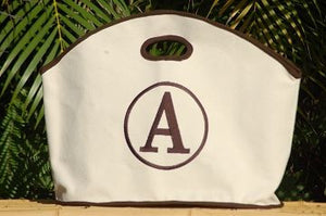 Monogrammed Brown Trim Canvas GG Tote