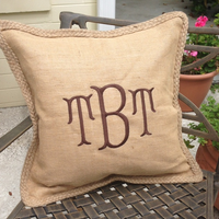 Monogrammed Jute Throw Pillow Cases Natural with Matching Trim