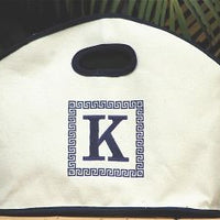 Monogrammed Navy Trim Canvas GG Tote
