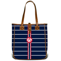 Monogrammed Nantucket Tote- Navy French Stripe