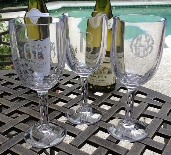 Monogrammed Unbreakable Acrylic Wine Glasses