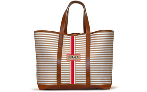 Monogrammed St Charles Yacht Tote- Sand Horizontal Stripe