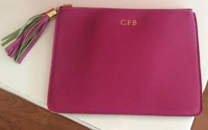 Personalized Full Grain Leather Clutch