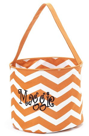 Monogrammed Orange Chevron Bucket