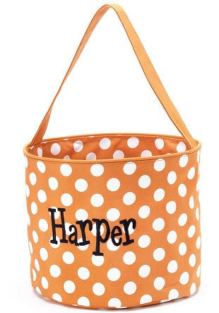 Monogrammed Orange Dot Bucket
