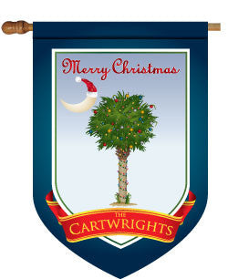 Monogrammed Christmas Palm Tree House Flag