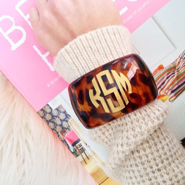 Parker Tortoise Monogram Bangle