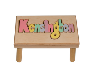 Classic Large Maple Name Puzzle Stool