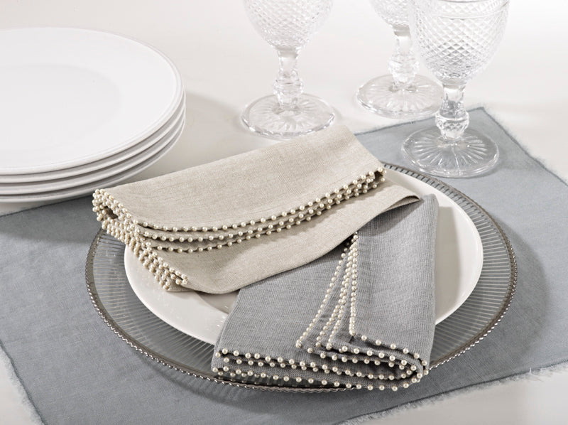 Grey Pearl Trim Napkin (Set of 4)