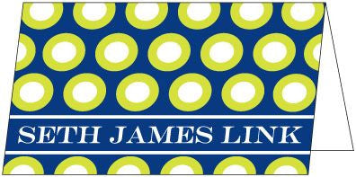 Mod Dot Navy and Lime Green Folded Enclosure Card