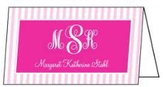 Pink Stripe Folded Enclosure Card