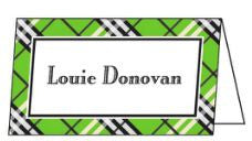 Plaid Lime Green Folded Enclosure Card