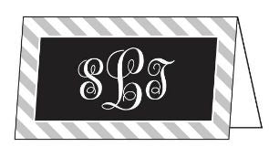 Diagonal Stripe Black and Gray Folded Enclosure Card