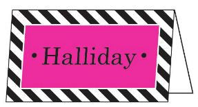 Diagonal Stripe Black and Hot Pink Folded Enclosure Card