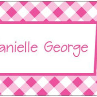 Gingham Hot Pink Folded Enclosure Card