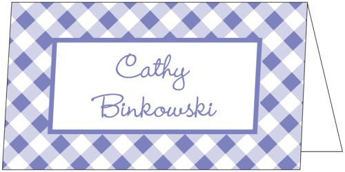 Gingham Purple Folded Enclosure Card