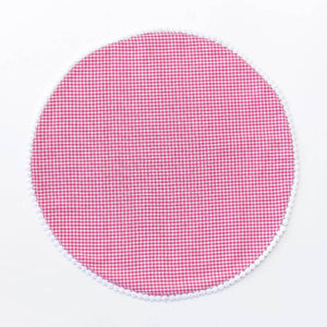 Pink Gingham Monogram Round Placemats/Set of 4