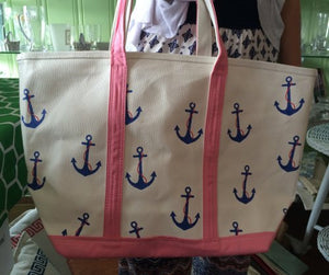 Monogrammed Pink Anchor Classic Tote