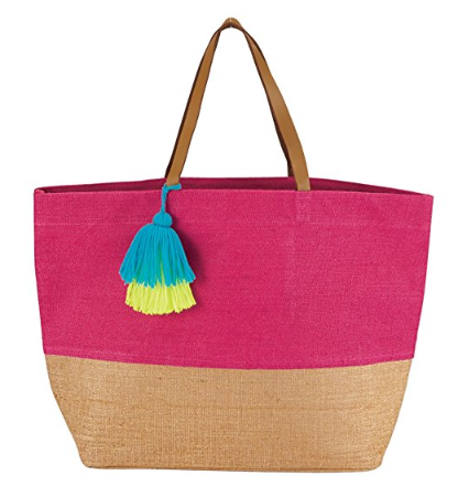 Color Block Jute Tote Bag