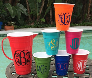 Monogrammed Party Cups and Pitcher