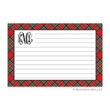 Plaid Red Recipe Card