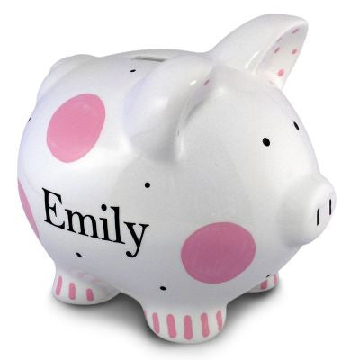 Personalized Pink Polka Dot Piggy Bank