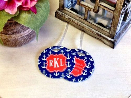 Custom Preppy Anchor Pair of Round Luggage Tags