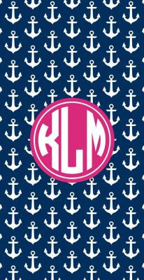 Personalized Preppy Anchor Beach Towel