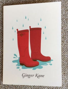 Personalized Rainboots Folded Notes