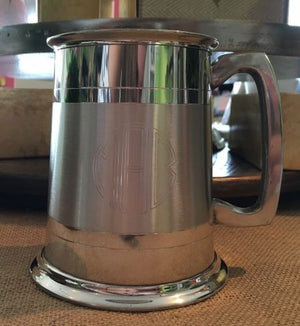 Engraved Pewter and Satin Tankard