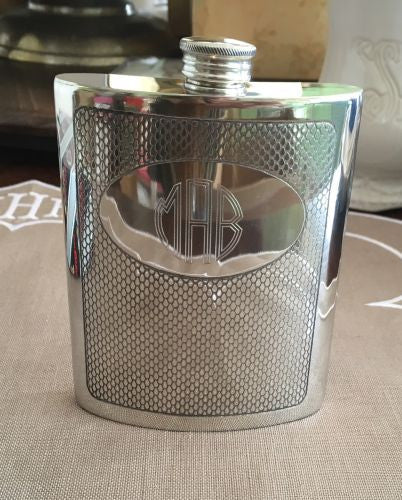 Engraved Pewter Flask