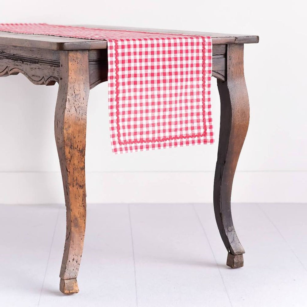 Red Gingham Monogrammed Table Runner