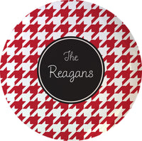 "Red Houndstooth 10"" Melamine Plate"