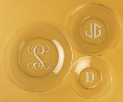 Monogrammed Round Buffet Glass Plates