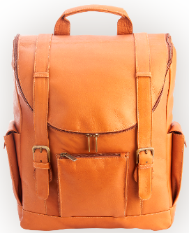 "Colombian Leather Backpack with 15"" Laptop Sleeve"