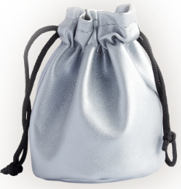 Compact Jewelry Drawstring Pouch in Genuine Leather