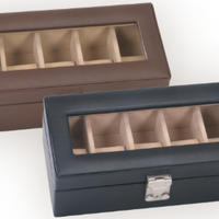 Leather Deluxe 5 Slot Watch Box