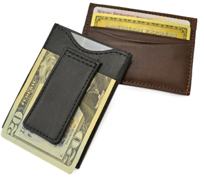 Monogrammed Leather Magnetic Money Clip Wallet