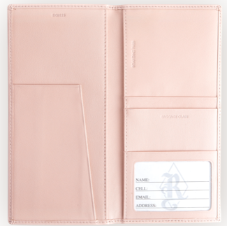 Monogrammed Leather  RFID Blocking Passport Ticket Holder