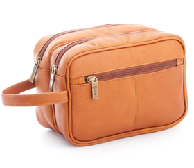 Monogrammed Colombian Leather Travel Toiletry Bag
