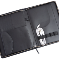 Zippered Tech Case Organizer in Pebbled Leather