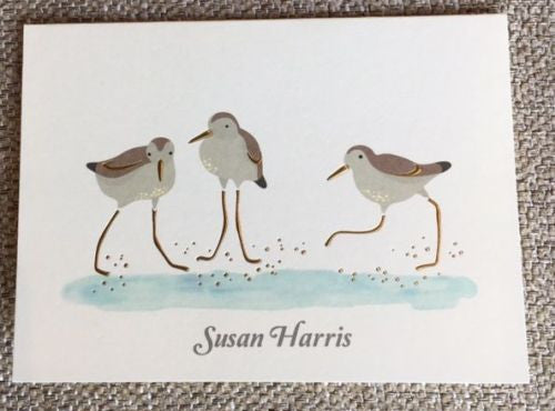 Personalized Sand Piper Folded Notes
