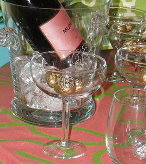Monogrammed Pair Saucer Champagne Flutes