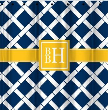 Monogrammed Bamboo Shower Curtain