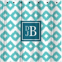 Monogrammed Ikat Shower Curtain